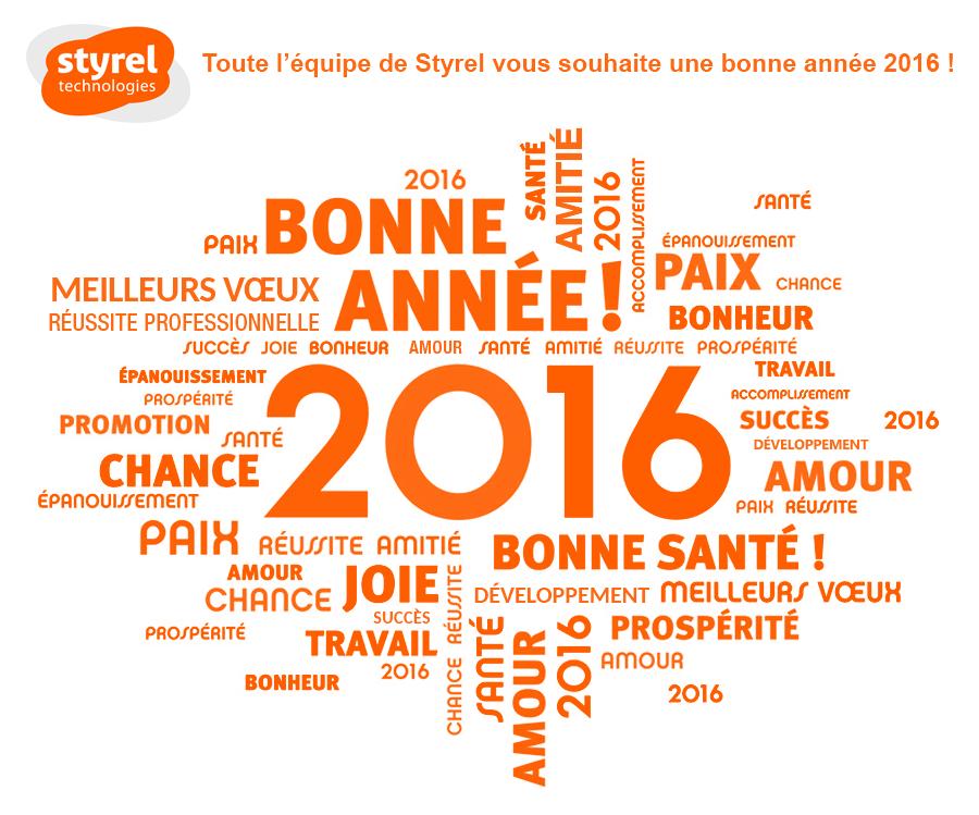 Toute l'équipe de Styrel vous souhaite une bonne année 2016 !
